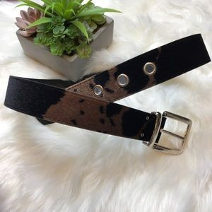 Brown Black Velvet Cowl Print Belt
